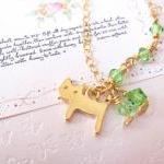 Kitty Luvs Green Necklace -14K gold..