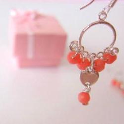 Heart Coral Earrings-925 Silver & Heart Charm, Coral Quartz
