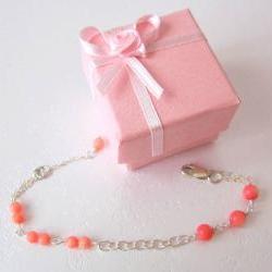 Heart Coral Bracelet- 925 Silver & Coral Quartz