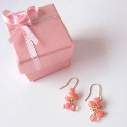 Dreamz Come True Earrings - 14K Gold, Pink Coral, Cherry Quartz