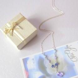 Purple Fluttery Gems Necklace - 925 Silver, Moonstone, Swarovski Crystals & Butterfly