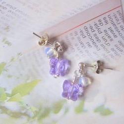 Purple Fluttery Gems Earrings- 925 Silver pierce, MoonStone & Butterfly Swarovski Crystal