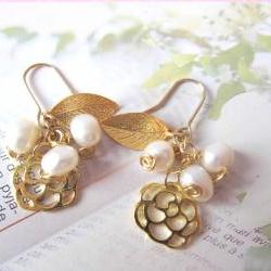 O' My Pearly Garden Earrings - 14K gold-plated, gold plated Leaf & Rose Charms, Fresh water pearls
