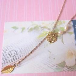 O' My Pearly Garden Lariat Necklace - 14K gold-plated, Freshwater Pearls, Rose & Leaf