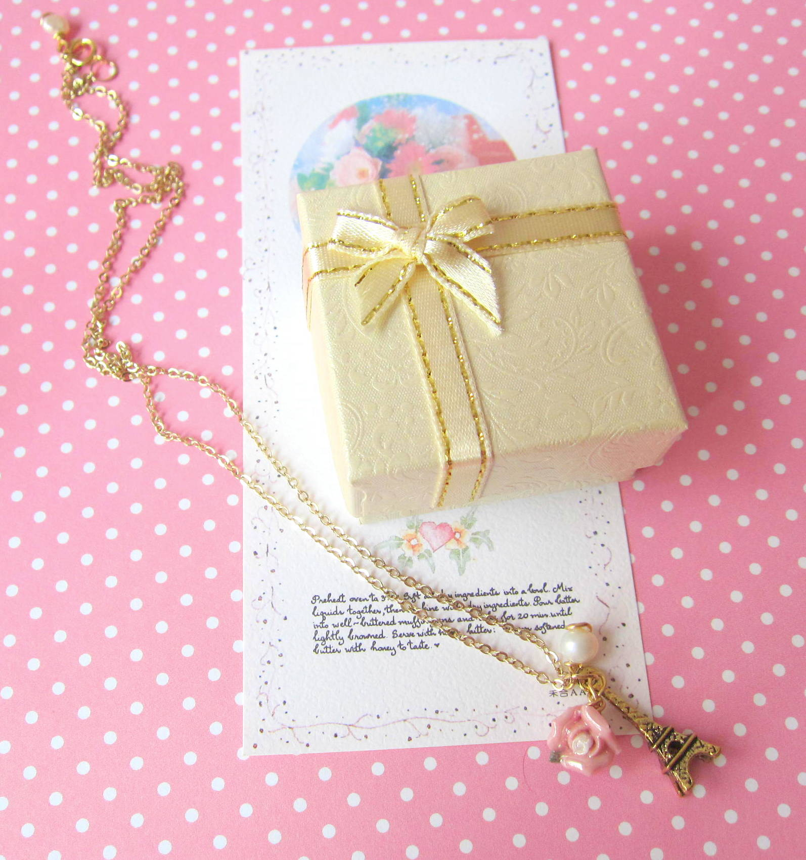 Amour Pour Eiffel Necklace - 14K Gold Plated, Pink Rose, Freshwater ...